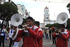 Os habitantes da cidade durante o carnaval em honra da virgem de Guadalupe Fotografia de Stock