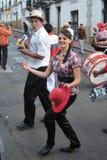 Os habitantes da cidade durante o carnaval em honra da virgem de Guadalupe Imagem de Stock