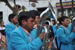 Os habitantes da cidade durante o carnaval em honra da virgem de Guadalupe Imagens de Stock