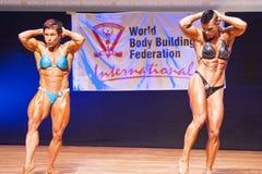 Os halterofilistas fêmeas dobram seus músculos para mostrar seu físico Foto de Stock