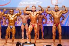 Os halterofilistas masculinos dobram seus músculos para mostrar seu físico Fotos de Stock