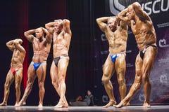 Os halterofilistas mostram que seus abdominals e coxas levantam em uma formação Fotos de Stock