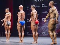 Os halterofilistas mostram seu físico na fase no campeonato Imagens de Stock
