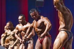 Os halterofilistas mostram seu físico na fase no campeonato Foto de Stock