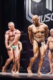Os halterofilistas mostram sua pose do tríceps na fase no campeonato Fotografia de Stock