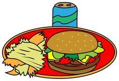 Os hamburgueres com microplaquetas e podem ilustração royalty free