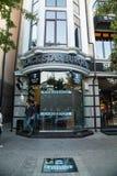 Os hamburgueres da estrela do preto do restaurante abriram em Grozny, Chechnya Imagem de Stock