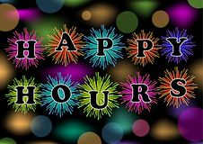 Os happys hour do quadro de avisos com fogo de artifício e bokeh coloridos iluminam-se, o vetor eps10 Reboque para o restaurante, Foto de Stock Royalty Free
