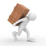 Os homens carreg a parte traseira da caixa sobre Imagem de Stock