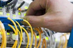 Os homens conectam o cabo da rede ao interruptor fotos de stock