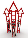 os homens 3d aprontam-se escalam acima o conceito das escadas da seta Fotos de Stock Royalty Free
