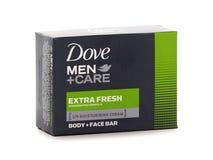 Os homens da pomba importam-se o sabão extra fresco, do corpo e da cara de barra Imagens de Stock