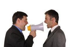 Os homens de negócios encontram emocionalmente atitudes imagem de stock