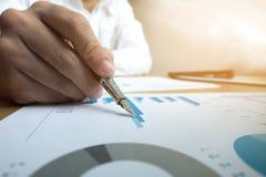 Os homens de negócios estão apontando números, gráfico, carta no resul do negócio imagens de stock royalty free