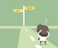 Os homens de negócios hesitam escolher o trajeto Conceito da decisão ilustração do vetor