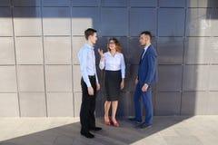 Os homens de negócios novos atrativos dos adultos, estudantes encontrados acima e discutem Fotos de Stock Royalty Free