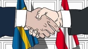 Os homens de negócios ou os políticos agitam as mãos contra bandeiras da Suécia e da Áustria Reunião ou cooperação oficial relati ilustração do vetor