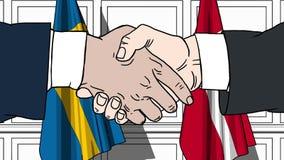Os homens de negócios ou os políticos agitam as mãos contra bandeiras da Suécia e da Dinamarca Reunião ou cooperação oficial rela ilustração do vetor