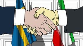 Os homens de negócios ou os políticos agitam as mãos contra bandeiras da Suécia e do Irã Reunião oficial ou desenhos animados rel ilustração do vetor