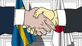 Os homens de negócios ou os políticos agitam as mãos contra bandeiras da Suécia e do Japão Reunião ou cooperação oficial relativa ilustração stock