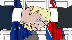 Os homens de negócios ou os políticos agitam as mãos contra bandeiras da UE da União Europeia e da Coreia do Norte Reunião oficia ilustração royalty free