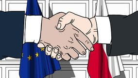 Os homens de negócios ou os políticos agitam as mãos contra bandeiras da UE da União Europeia e do Polônia Reunião ou cooperação  ilustração do vetor