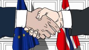 Os homens de negócios ou os políticos agitam as mãos contra bandeiras da UE da União Europeia e da Noruega Reunião ou cooperação  ilustração do vetor