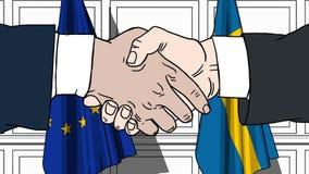Os homens de negócios ou os políticos agitam as mãos contra bandeiras da UE da União Europeia e da Suécia Reunião ou cooperação o ilustração do vetor