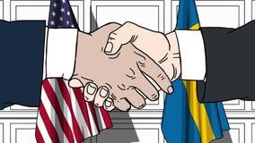 Os homens de negócios ou os políticos agitam as mãos contra bandeiras dos EUA e da Suécia Reunião oficial ou desenhos animados re ilustração royalty free