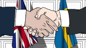 Os homens de negócios ou os políticos agitam as mãos contra bandeiras de Grâ Bretanha e de Suécia Reunião ou cooperação oficial r ilustração do vetor