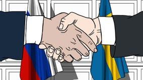 Os homens de negócios ou os políticos agitam as mãos contra bandeiras de Rússia e de Suécia Reunião ou cooperação oficial relativ ilustração do vetor