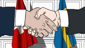 Os homens de negócios ou os políticos agitam as mãos contra bandeiras de Suíça e da Suécia Reunião ou cooperação oficial relativa ilustração royalty free