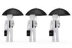Os homens de negócios prendem o guarda-chuva preto Fotografia de Stock