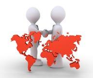 Os homens de negócios concordam e o mapa do mundo Fotografia de Stock