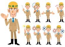 Os homens do _da indústria da construção civil no bege coloriram a roupa de trabalho ilustração do vetor