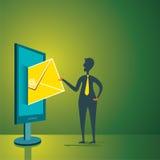 Os homens enviam o correio através do conceito do computador Imagens de Stock Royalty Free