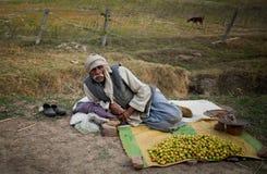 Os homens idosos indianos vendem a ameixa foto de stock