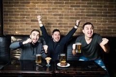 Os homens novos bebem a cerveja, comem snaks e cheering para o fósforo de futebol Emoções de vencimento Fotos de Stock Royalty Free