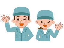 Os homens novos e as mulheres com APROVADO assinam dentro a roupa de trabalho ilustração do vetor