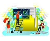 Os homens que procuram dados no ícone e no trabalhador gigantes do dobrador estão operando dados da busca & arranjam dados no dob ilustração royalty free