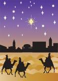 Os homens sábios chegam Bethlehem Imagens de Stock Royalty Free
