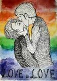 Os homossexual de LGBT que beijam o amor do beijo são amor ilustração do vetor