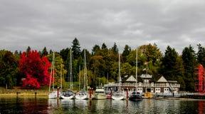 Os iate entraram dentro no porto do Boatyard em Stanley Park Fotos de Stock Royalty Free