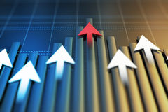 Os indicadores econômicos e movem-se para a frente com a seta imagem de stock