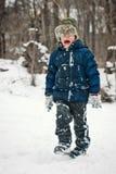 Os indivíduos estão jogando na neve no inverno Imagens de Stock Royalty Free