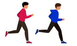 Os indivíduos que correm os povos rápidos que movimentam-se Dois homens novos no sportswear envolvido nos esportes ilustração royalty free