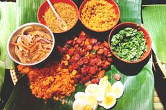 Os ingredientes cozinharam Fried Rice no fim de Lotus Leaf acima imagem de stock royalty free