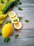 Os ingredientes para as crianças com água, o limão cortado e o gelo do pepino para limpar o corpo Foto de Stock
