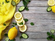 Os ingredientes para as crianças com água, o limão cortado e o gelo do pepino para limpar o corpo Imagem de Stock