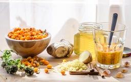 Os ingredientes para a mistura caseiro reforçam o sistema imunitário Imagens de Stock